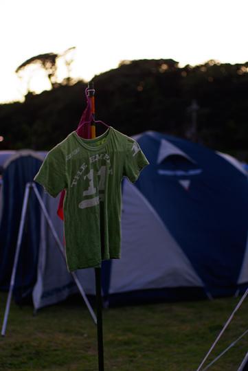 夜明の頃,テント前にて