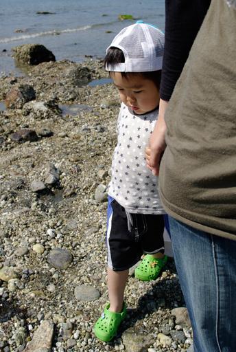 ママに手を引かれて海岸を後にするケイ&新品のクロックス