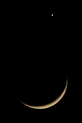 写真 - 三日月と金星の大接近